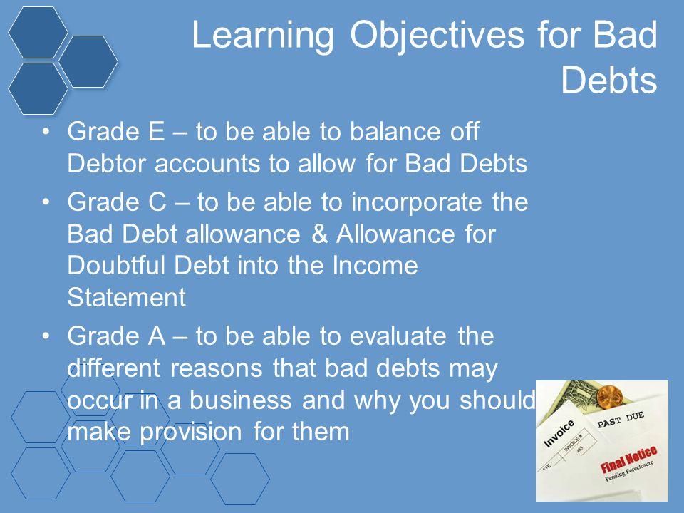 Learning Objectives for Bad Debts