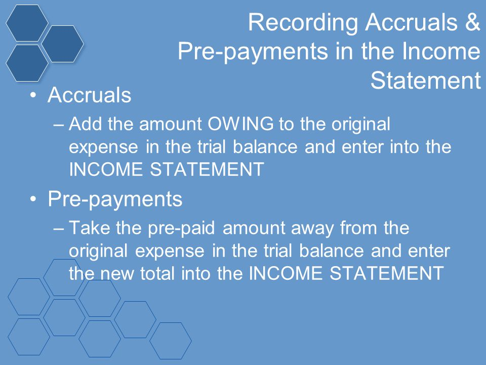 Recording Accruals & Pre-payments in the Income Statement