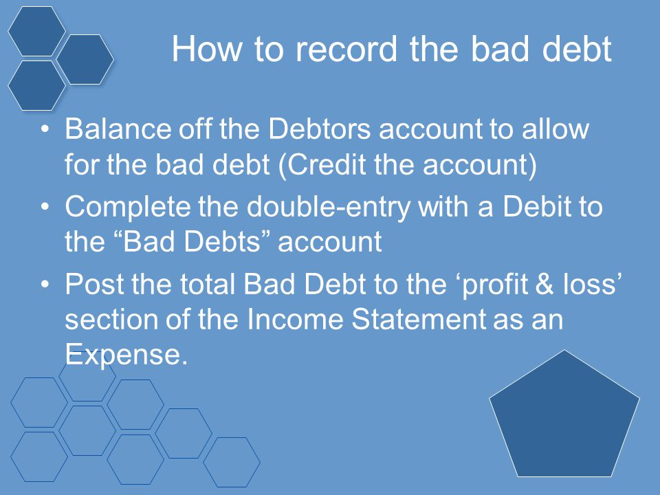 How to record the bad debt