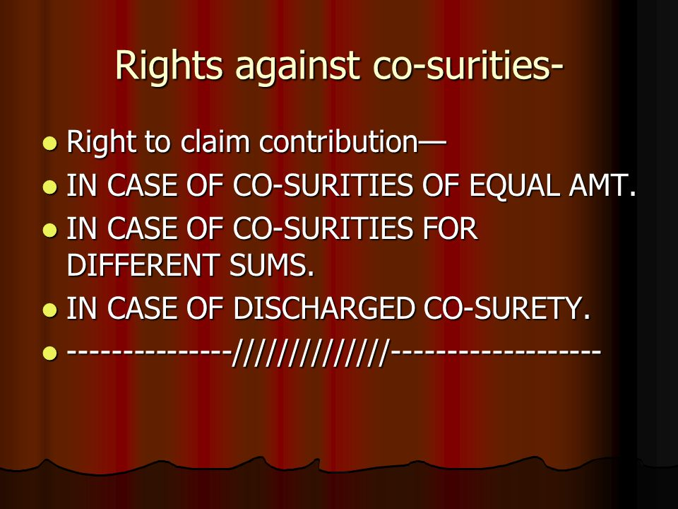 Rights against co-surities-