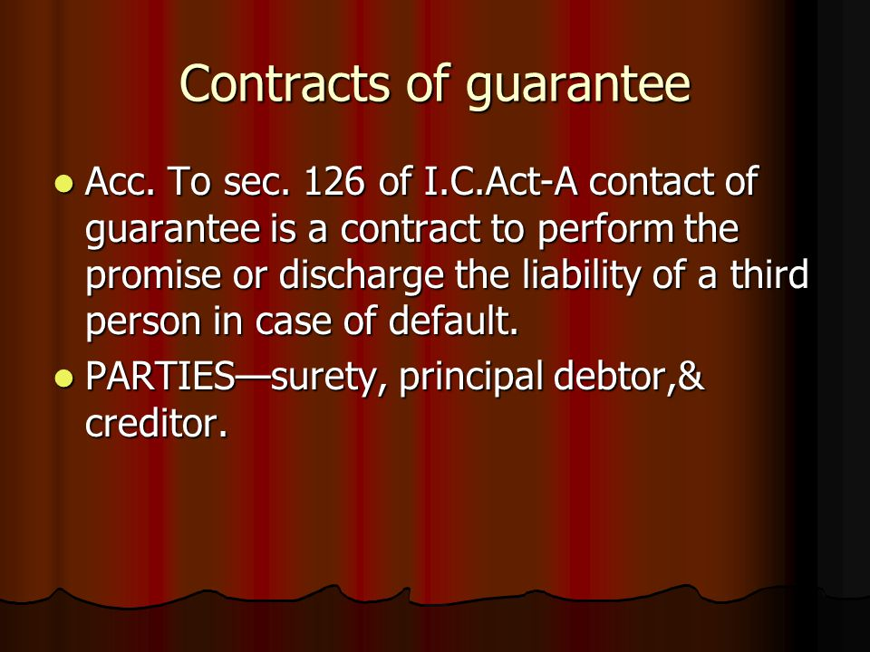 Contracts of guarantee