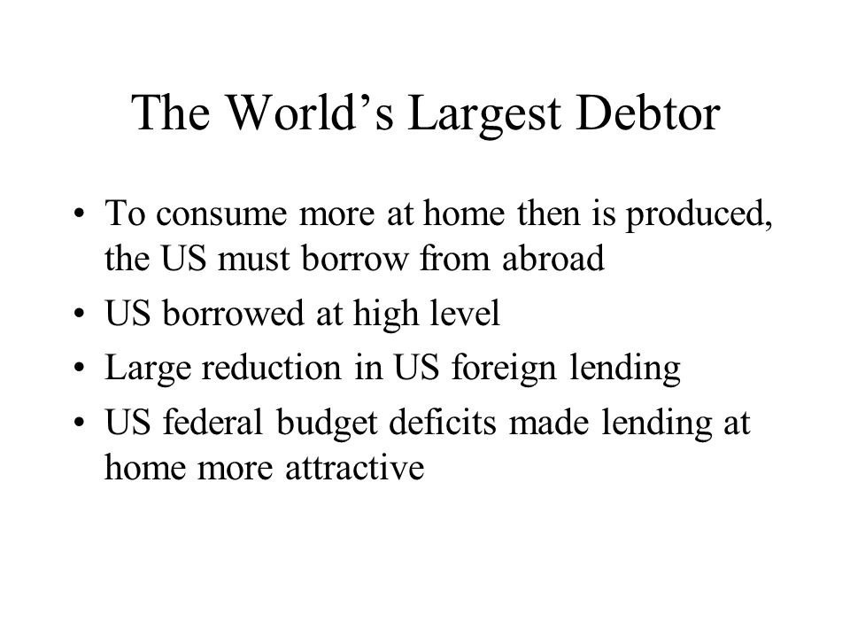 The World's Largest Debtor