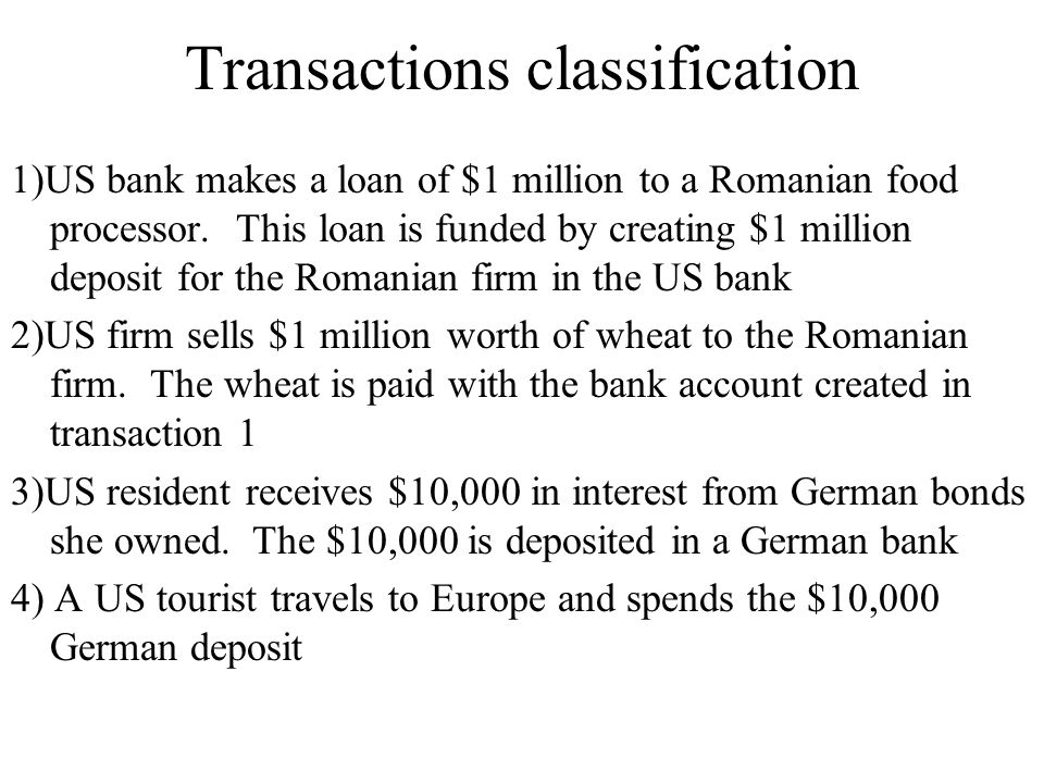 Transactions classification