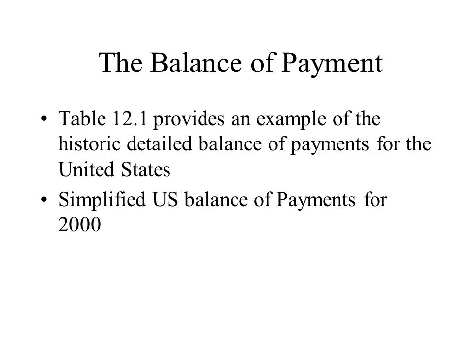 The Balance of Payment Table 12.1 provides an example of the historic detailed balance of payments for the United States.