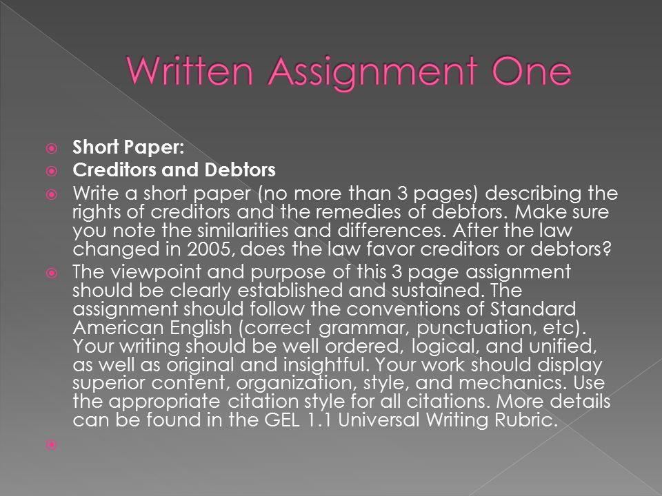 Written Assignment One