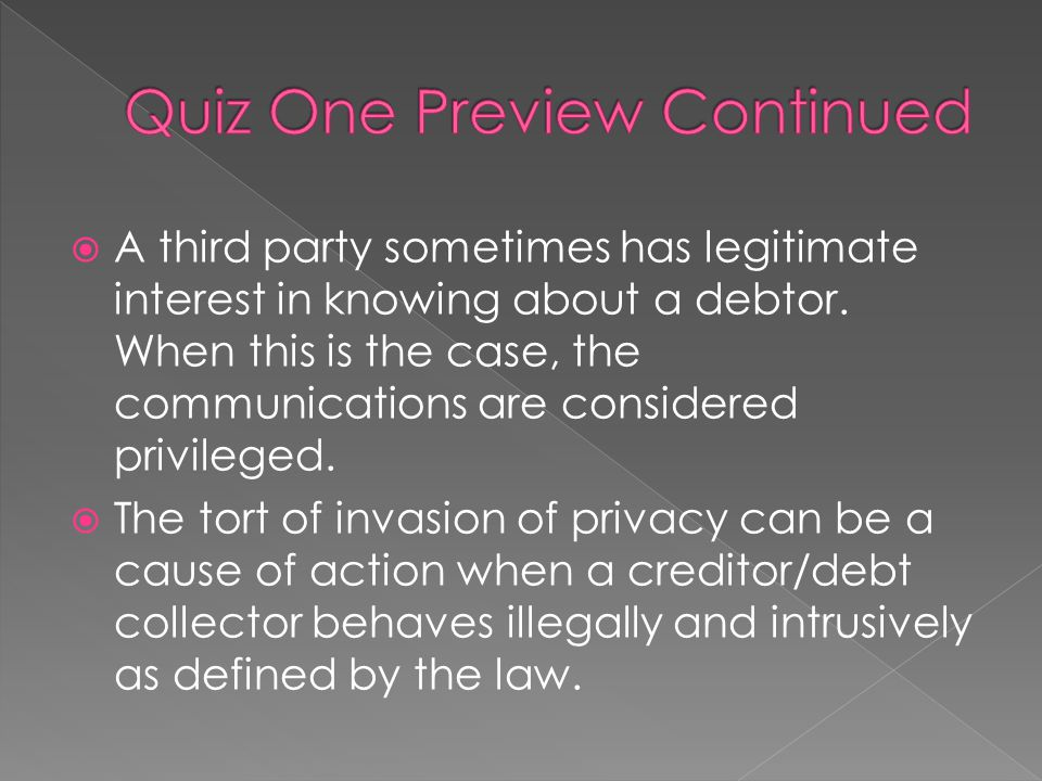 Quiz One Preview Continued
