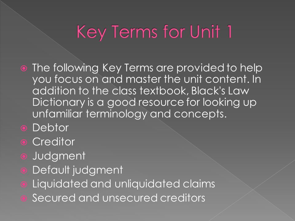 Key Terms for Unit 1