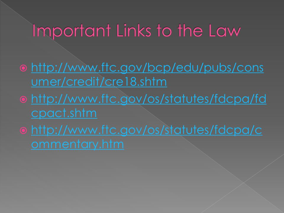 Important Links to the Law