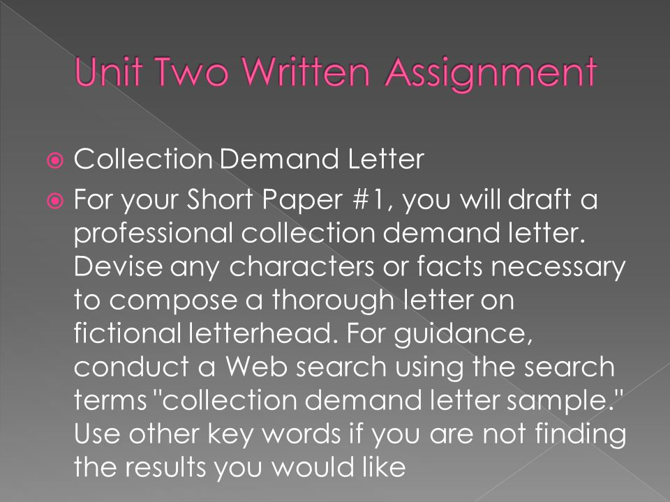 Unit Two Written Assignment