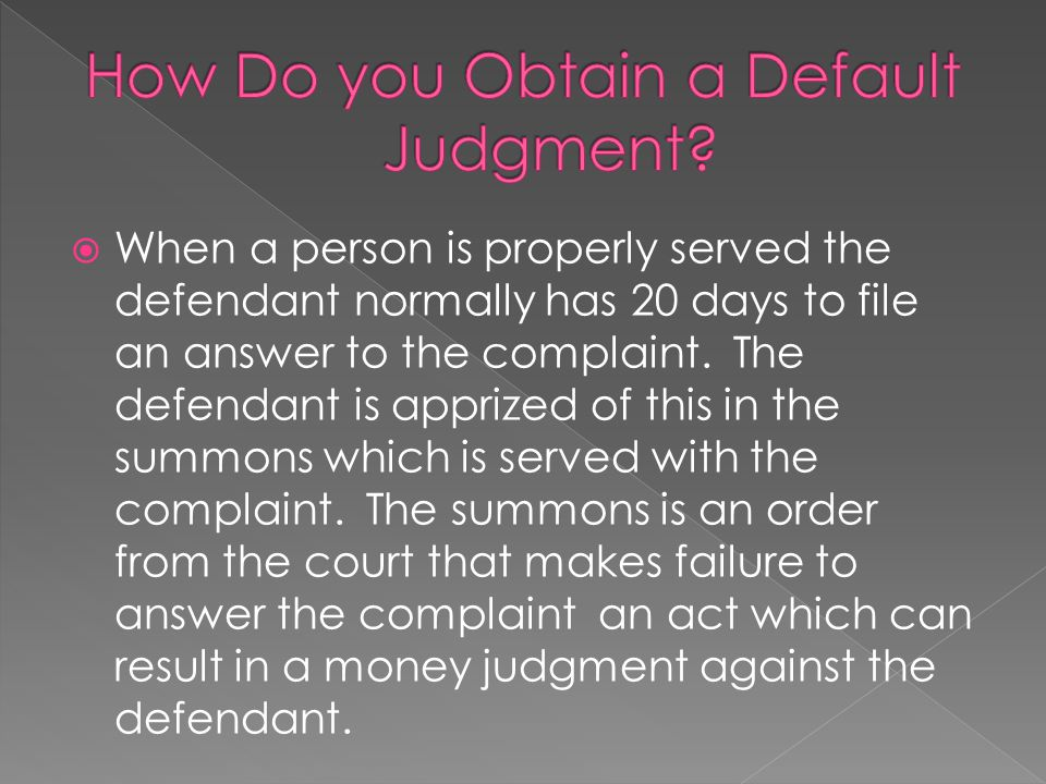 How Do you Obtain a Default Judgment