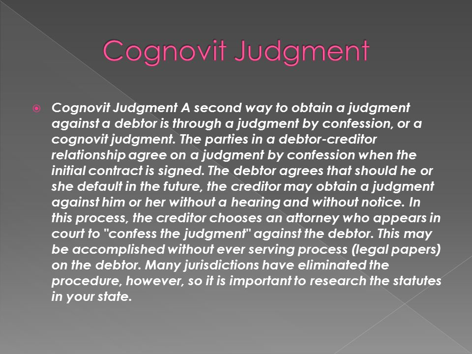 Cognovit Judgment