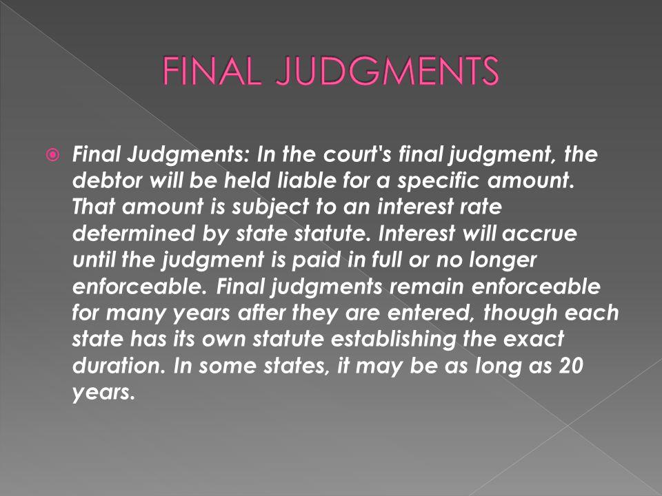 FINAL JUDGMENTS
