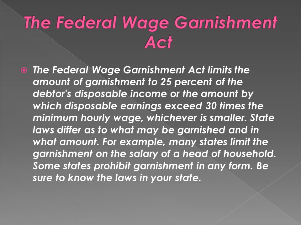 The Federal Wage Garnishment Act