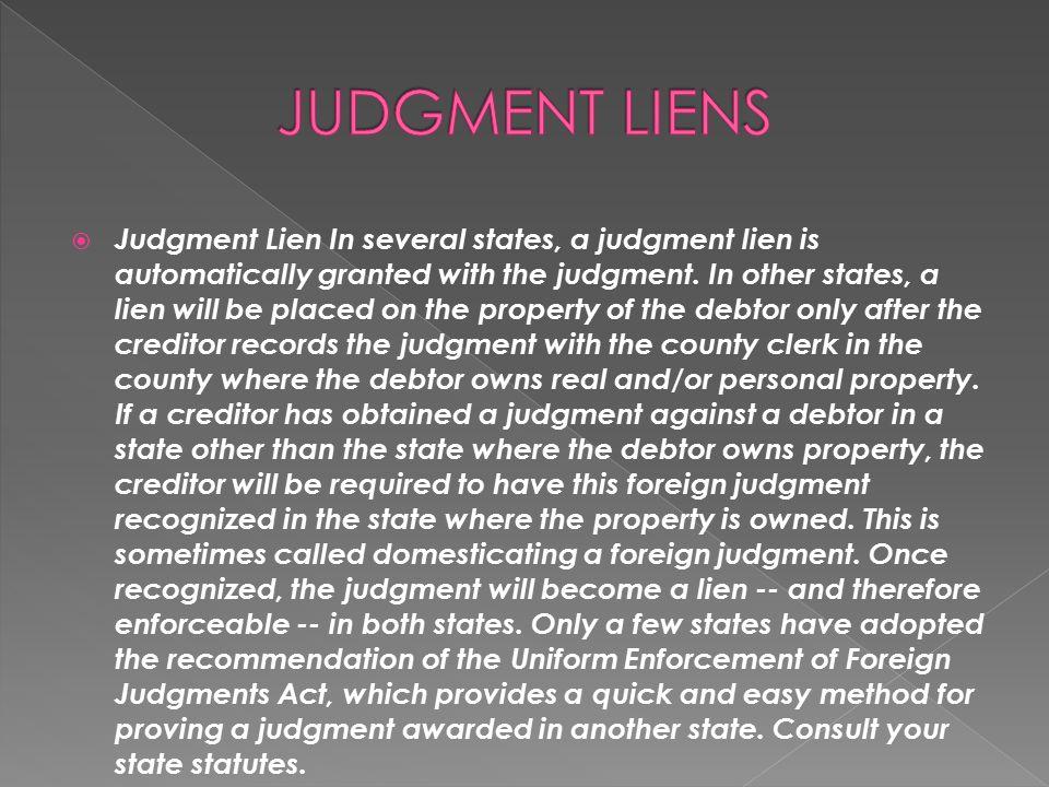JUDGMENT LIENS