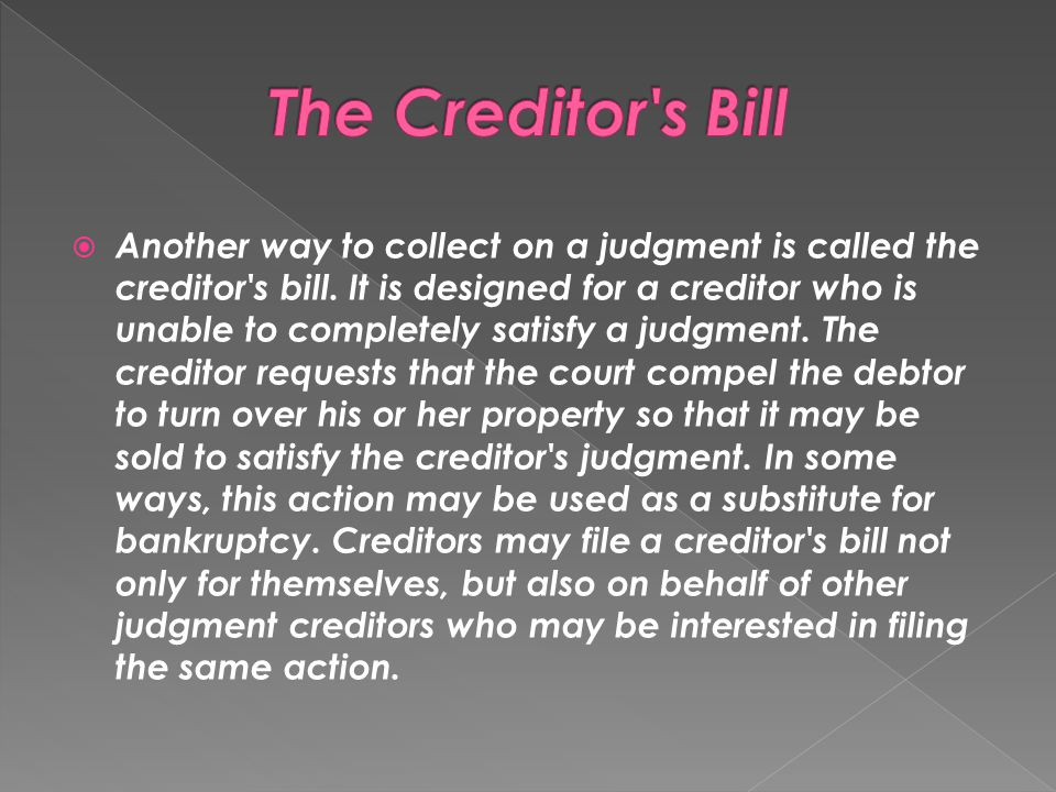 The Creditor s Bill