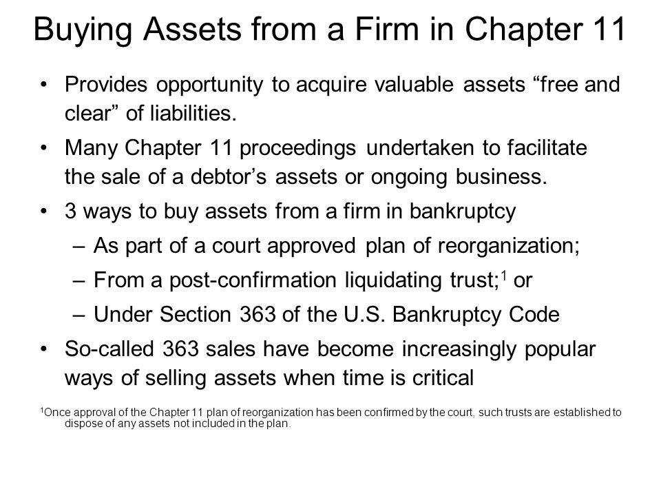 Buying Assets from a Firm in Chapter 11