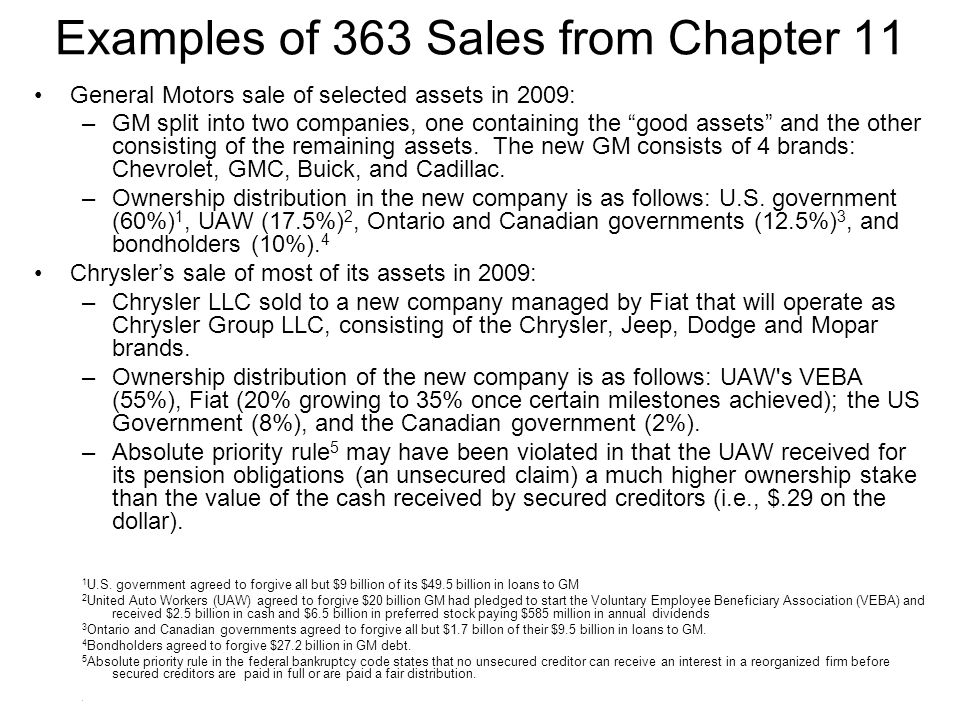 Examples of 363 Sales from Chapter 11