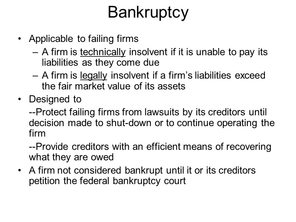 Bankruptcy Applicable to failing firms