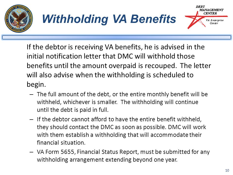 Withholding VA Benefits