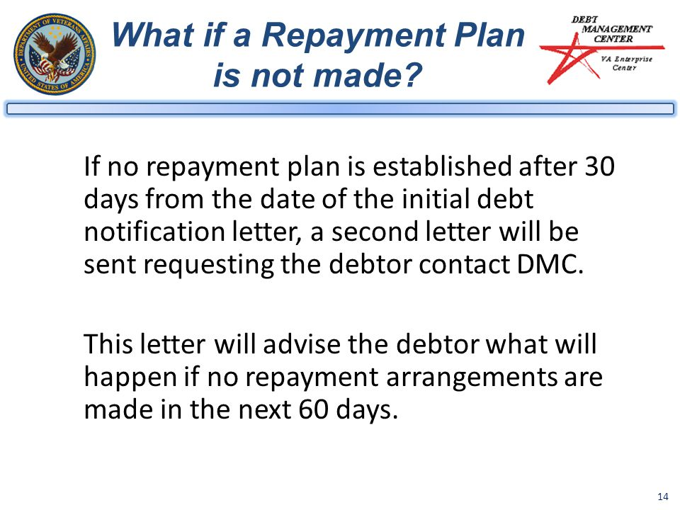 What if a Repayment Plan is not made