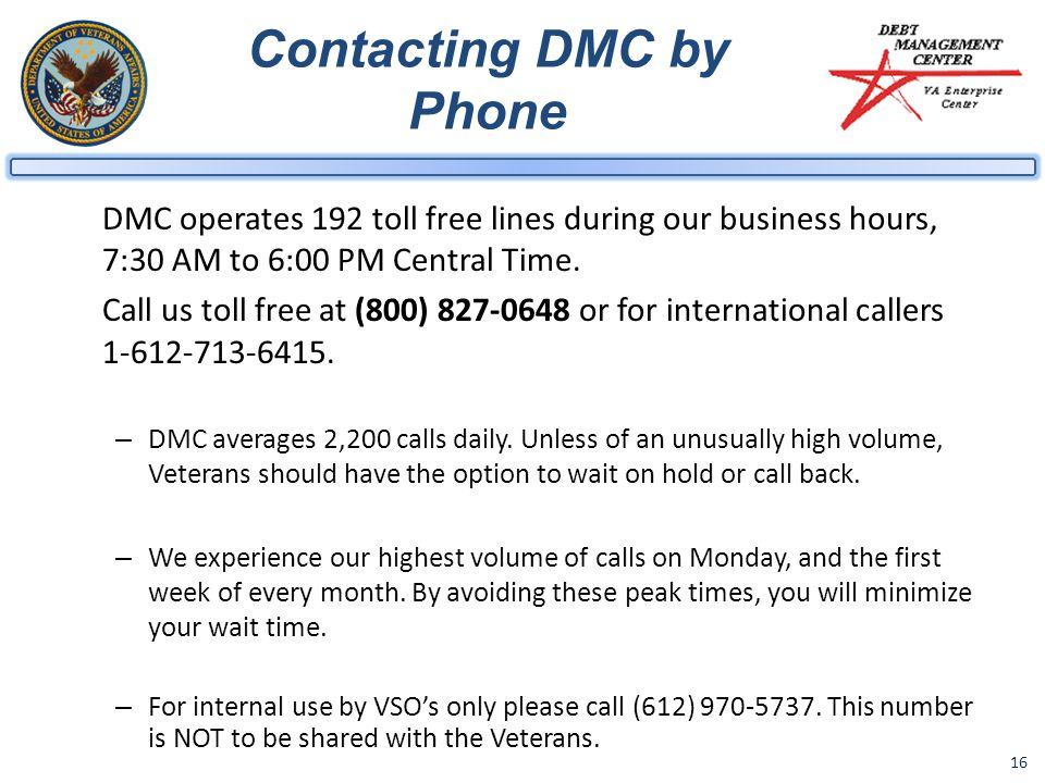 Contacting DMC by Phone