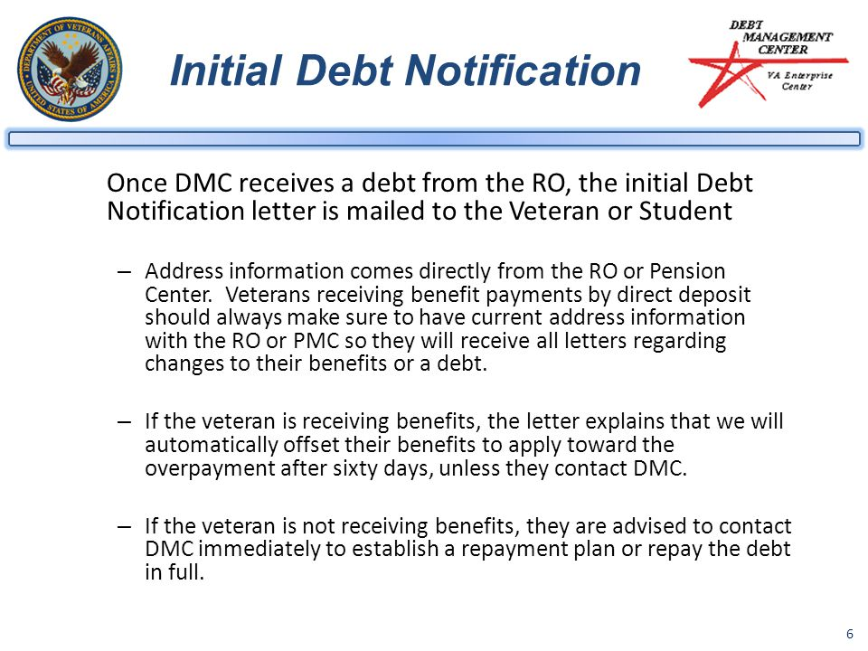 Initial Debt Notification
