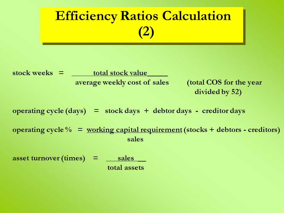 Efficiency Ratios Calculation (2)