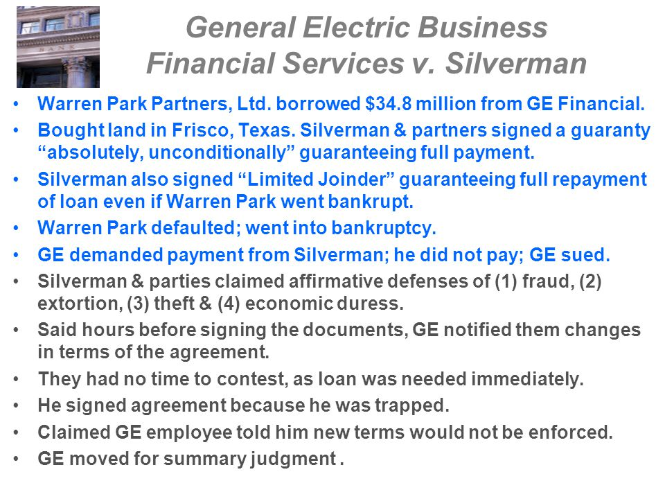 General Electric Business Financial Services v. Silverman