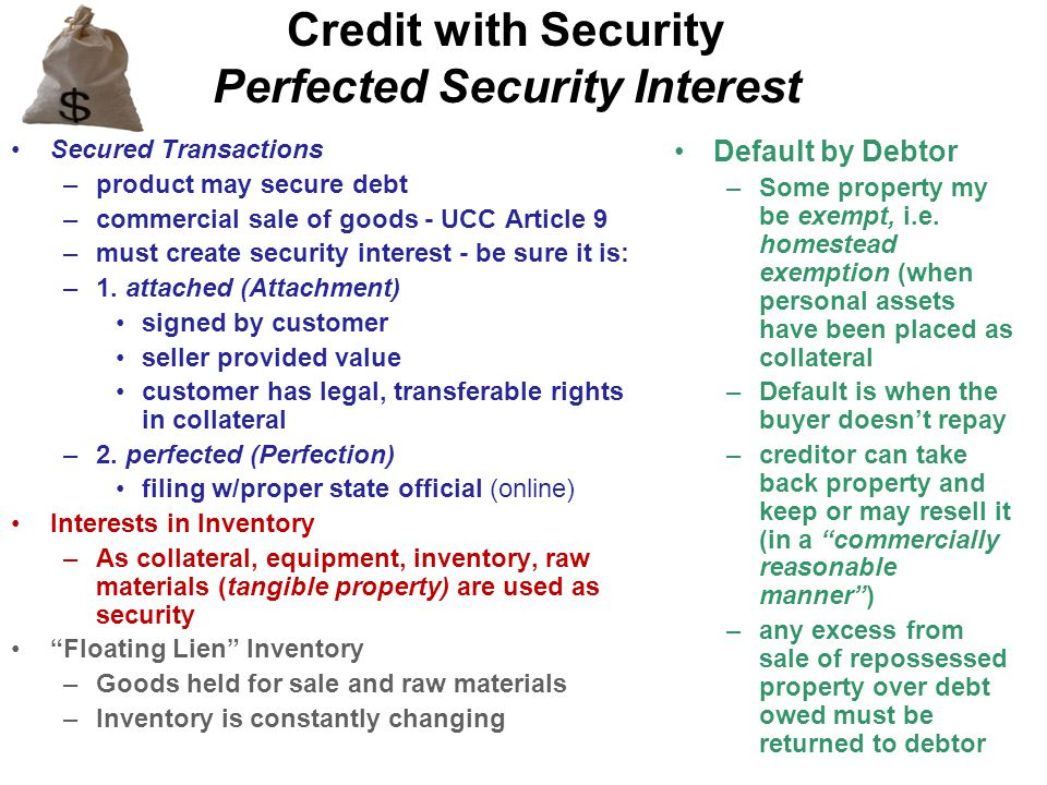 Credit with Security Perfected Security Interest