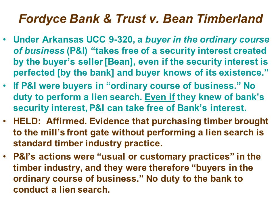 Fordyce Bank & Trust v. Bean Timberland