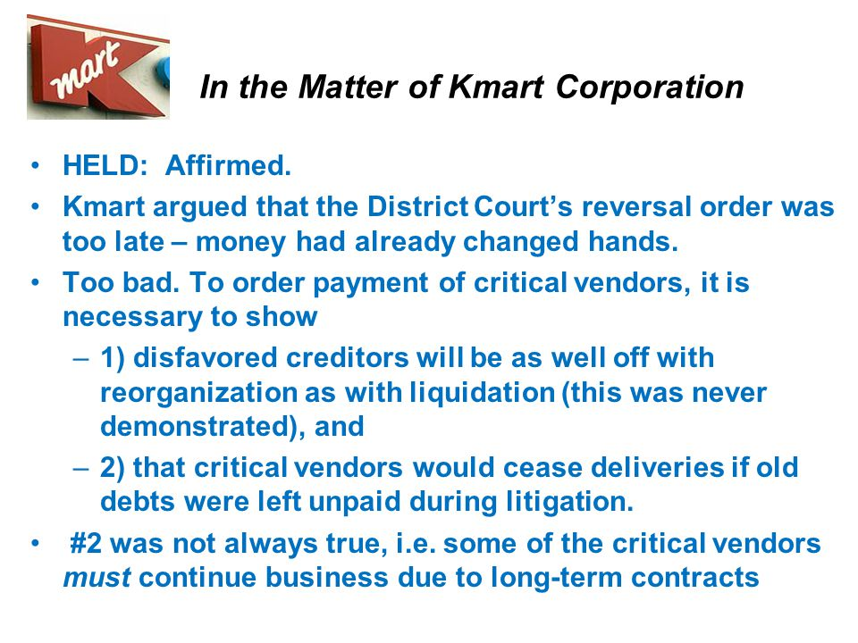 In the Matter of Kmart Corporation