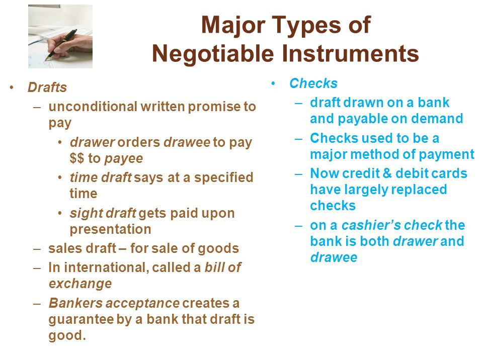 Major Types of Negotiable Instruments