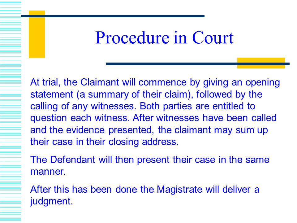 Procedure in Court