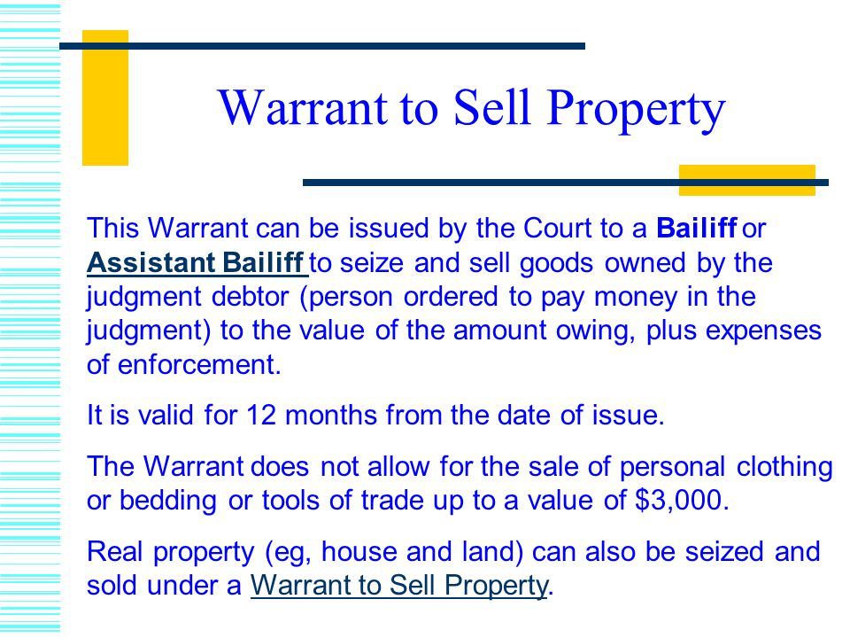 Warrant to Sell Property