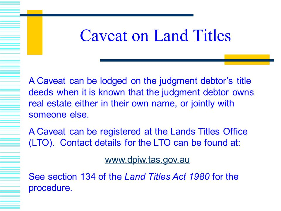 Caveat on Land Titles
