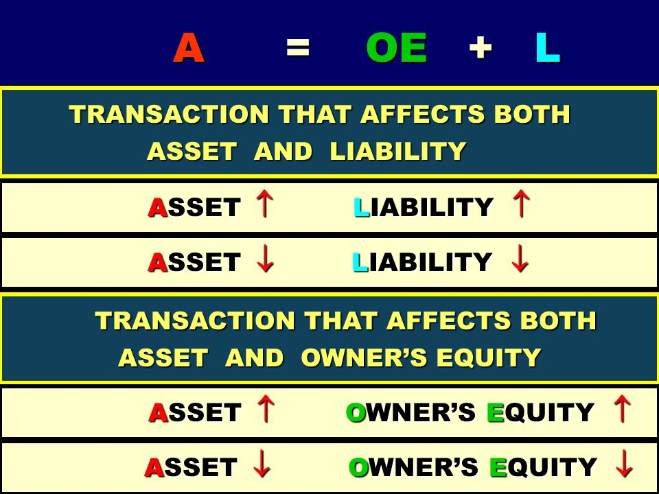TRANSACTION THAT AFFECTS BOTH ASSET AND OWNER'S EQUITY