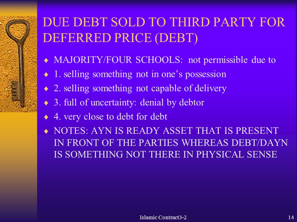 DUE DEBT SOLD TO THIRD PARTY FOR DEFERRED PRICE (DEBT)