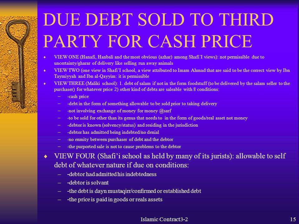 DUE DEBT SOLD TO THIRD PARTY FOR CASH PRICE