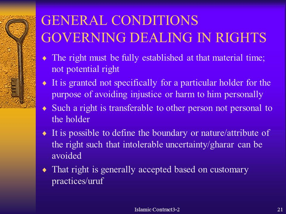 GENERAL CONDITIONS GOVERNING DEALING IN RIGHTS