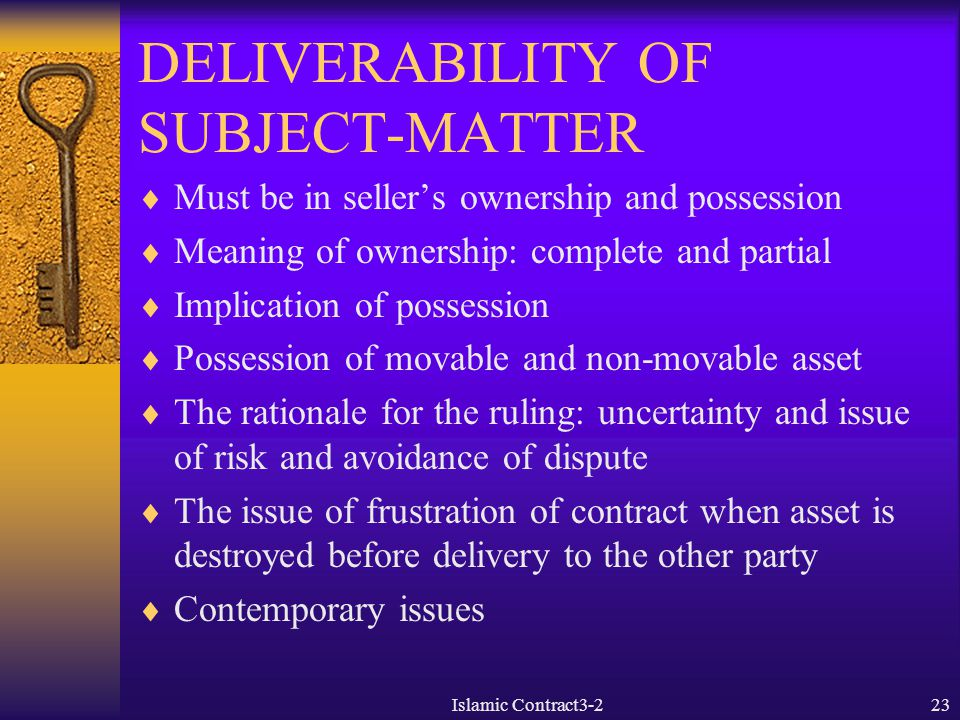 DELIVERABILITY OF SUBJECT-MATTER