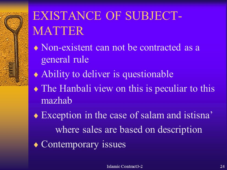 EXISTANCE OF SUBJECT-MATTER