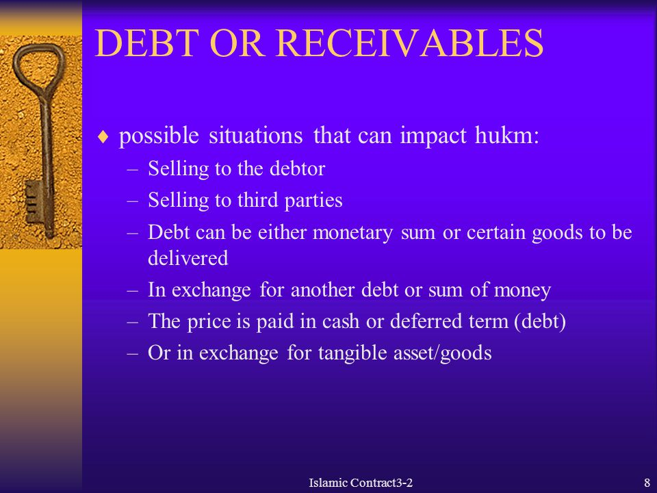 DEBT OR RECEIVABLES possible situations that can impact hukm: