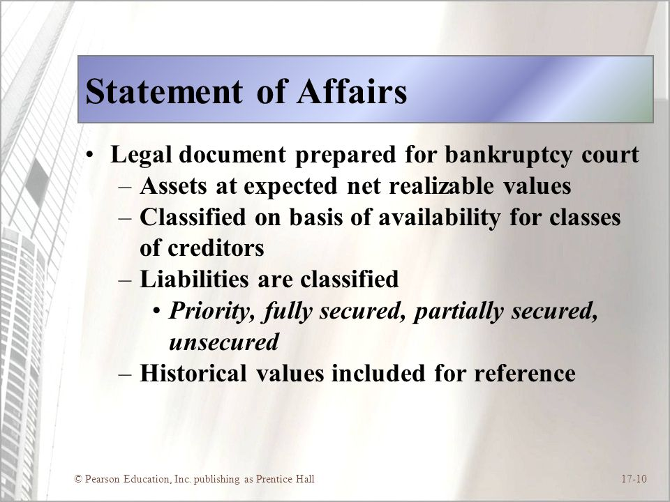 Statement of Affairs Legal document prepared for bankruptcy court