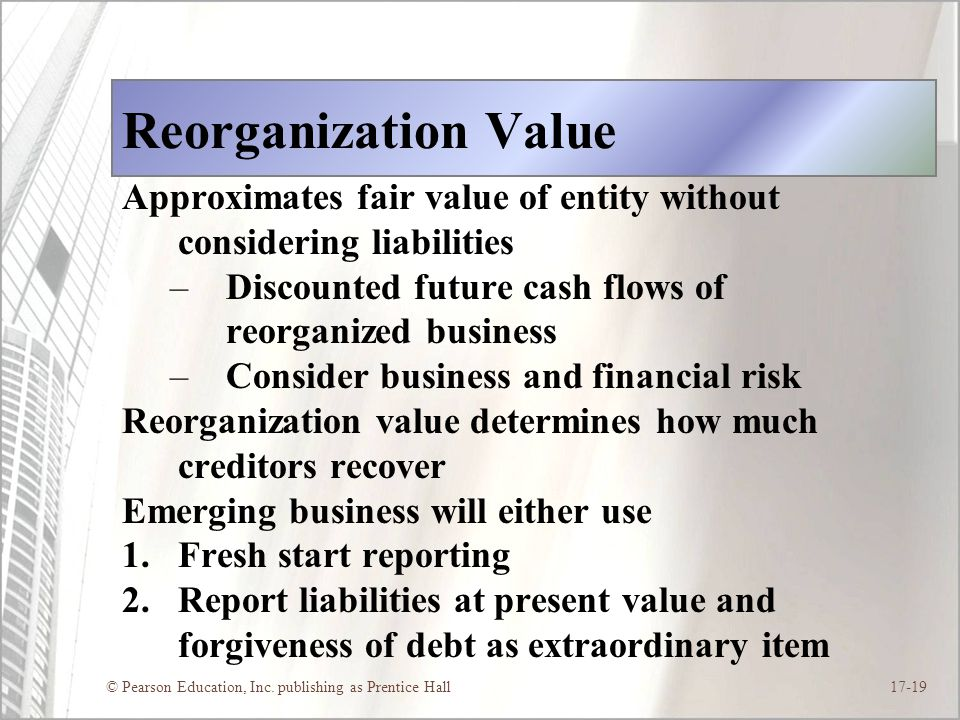 Reorganization Value Approximates fair value of entity without considering liabilities. Discounted future cash flows of reorganized business.
