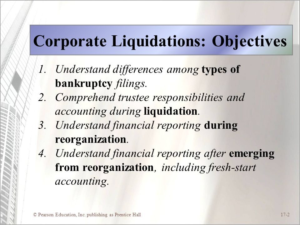 Corporate Liquidations: Objectives