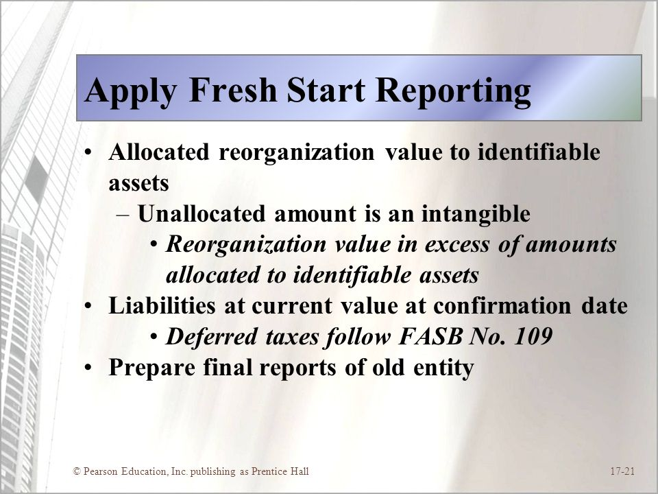 Apply Fresh Start Reporting