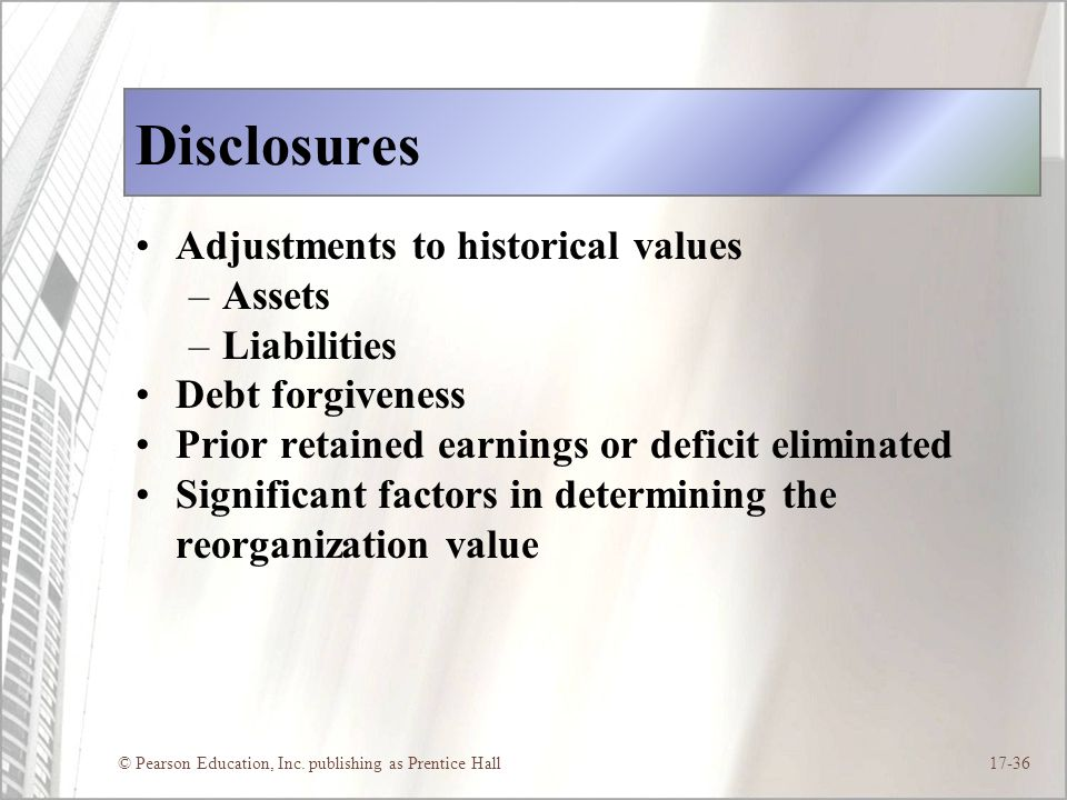 Disclosures Adjustments to historical values Assets Liabilities