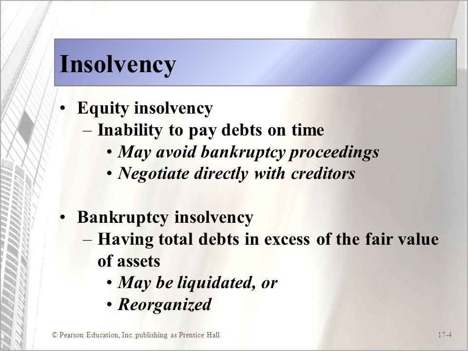 Insolvency Equity insolvency Inability to pay debts on time