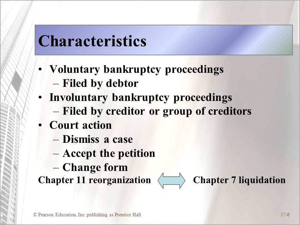 Characteristics Voluntary bankruptcy proceedings Filed by debtor