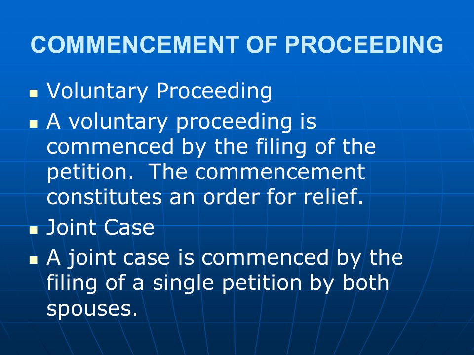 COMMENCEMENT OF PROCEEDING